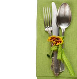 Cutlery on a green napkin Stock Photography