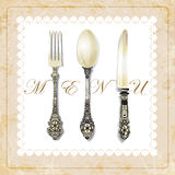Cutlery on grunge background. vintage spoon, fork, knife, napkin.vector illustration Royalty Free Stock Images