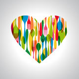 Cutlery heart shape illustration Royalty Free Stock Image