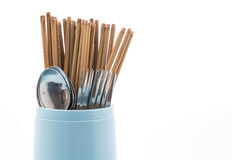 Cutlery holder chopsticks , spoon and fork Stock Photography