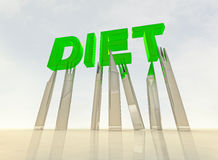Cutlery holding green diet  letters above Stock Photo