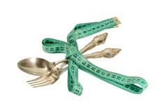 Cutlery i pomiarowa taśma Obraz Stock