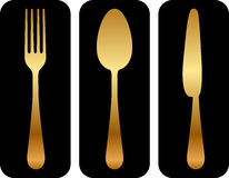 Cutlery icon on black background Stock Image