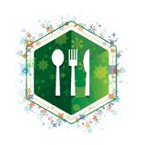 Cutlery icon floral plants pattern green hexagon button royalty free illustration
