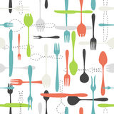 Cutlery icon seamless pattern on white background Royalty Free Stock Photo