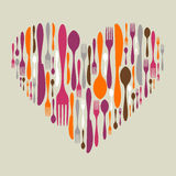 Cutlery icon set in heart shape Stock Photo