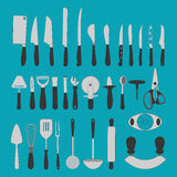 Cutlery Icons Set. On the green background. Knife icon. Vector illustration Royalty Free Stock Photography