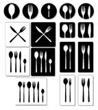 Cutlery icons. Set of tableware  illustrations. Stock Images