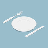 Cutlery isometrics. 3d Empty plate. Knife and fork. Kitchen ute Royalty Free Stock Photo