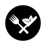 Cutlery with leafs healthy food Royalty Free Stock Image