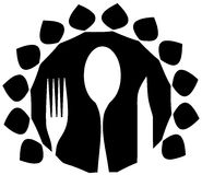 Cutlery logo in black isolated Royalty Free Stock Image