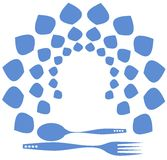 Cutlery logo in blue isolated Stock Photo