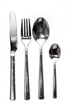 Cutlery metal set with Fork, Knife and Spoon - kitchen utensils. Stock Images