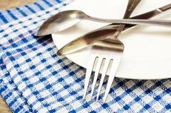 Cutlery na talerzu Obraz Stock