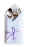 Cutlery and napkin. Isolated on white Stock Image