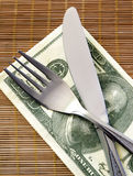 Cutlery on a napkin. Knife and fork on a napkin dollars Stock Images