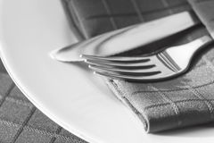 Cutlery with Napkin Royalty Free Stock Photography