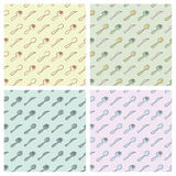 Cutlery pattern. Cutlery seamless pattern in four different colour arrangements Royalty Free Stock Image