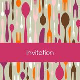 Cutlery pattern invitation Royalty Free Stock Photo