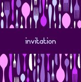 Cutlery pattern invitation. Violet background Stock Images