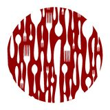 Cutlery pattern on red background Royalty Free Stock Image