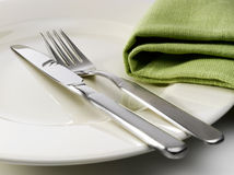 Cutlery on a plate Stock Photo