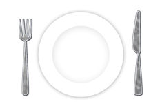 Cutlery & Plate. Stainless steel cutlery and white plate ready for your dessert vector illustration