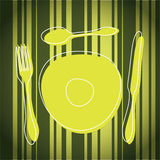 Cutlery and Plate. Abstract Colorful Cutlery and Plate Illustration in Editable Vector Format Stock Image