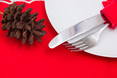 Cutlery on plate with Christmas decorations close Royalty Free Stock Photography