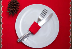 Cutlery on plate with Christmas decorations Stock Image