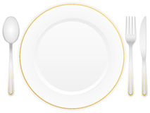 Cutlery and plate Royalty Free Stock Images