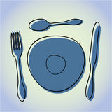 Cutlery and Plate Illustration Royalty Free Stock Images