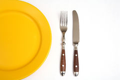 Cutlery and plate Stock Photo