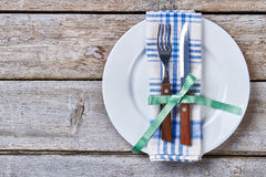 Cutlery on a plate. Royalty Free Stock Photos