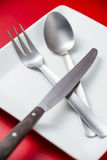 Cutlery. And plate with a red background Royalty Free Stock Photography