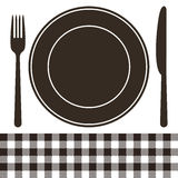 Cutlery, plate and tablecloth pattern Royalty Free Stock Photography