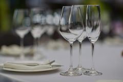 Cutlery, plates and glasses royalty free stock photos