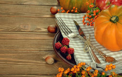 Cutlery and pumpkin Royalty Free Stock Photos