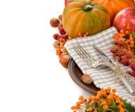 Cutlery and pumpkin Stock Photo