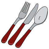 Cutlery with red handle Royalty Free Stock Photography
