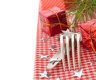 Cutlery and red napkin Royalty Free Stock Image