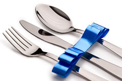 Cutlery with ribbon Royalty Free Stock Photo