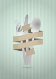 Cutlery ribbon Royalty Free Stock Photo