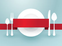 Cutlery with ribbon Royalty Free Stock Images