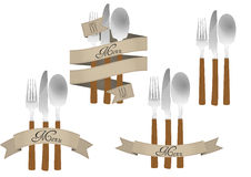 Cutlery ribbon set Stock Image