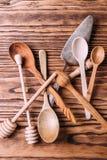 Cutlery robić drewno dla pikantność i kucharstwa Obraz Stock