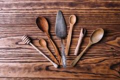 Cutlery robić drewno dla pikantność i kucharstwa Obrazy Stock