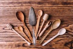 Cutlery robić drewno dla pikantność i kucharstwa Obraz Royalty Free