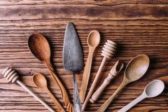 Cutlery robić drewno dla pikantność i kucharstwa Zdjęcia Royalty Free