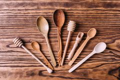 Cutlery robić drewno dla pikantność i kucharstwa Zdjęcie Stock
